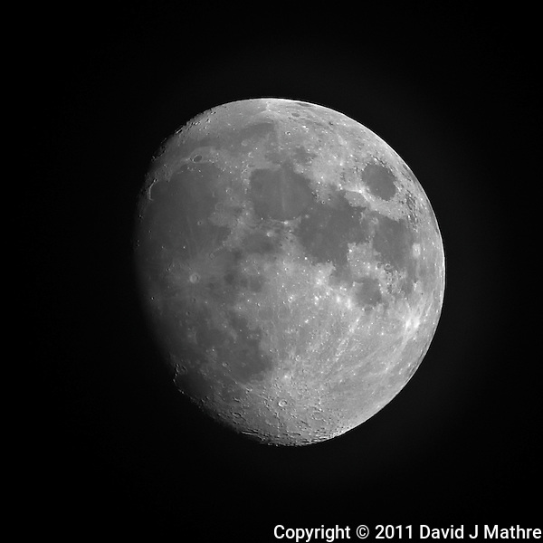 Waxing Gibbous Moon (85%). Summer Night in New Jersey. Image taken with a Nikon D3s and 500 mm f/4 VR lens + TC-E III 20 teleconverter (ISO 800, 1000 mm, f/8, 1/200 sec). Raw image processed with Capture One Pro 6, Nik Define 2, and Photoshop CS5 (David J Mathre)