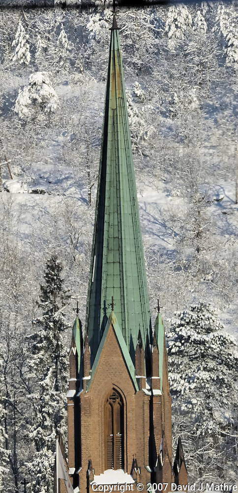Church Steeple from the Oslo to Bergen Train. Image taken with a Nikon D2xs and 80-400 mm VR lens (ISO 100, 310 mm, f/9, 1/320 sec). (David J. Mathre)