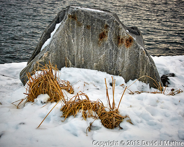 Dead grass and rock along the harbor walkway. Winter walkabout in Tromsø, Norway. Image taken with a Nikon 1 V2 camera and 18.5 mm f/1.8 lens (ISO 180, 18.5 mm, f/2.8, 1/500 sec). (David J Mathre)