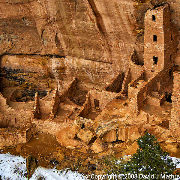 Square Tower House cliff dwelling.  Mesa Verde National Park. Image taken with a Nikon D3 camera and 80-400 mm VR lens (ISO 200, 80 mm, f/4.5. 1/200 sec). (David J Mathre)