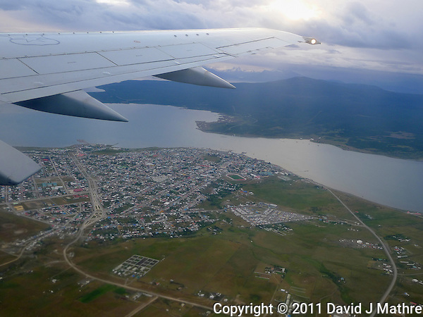Aerial View of Puerto Natales. Snapshot taken with a Leica D-Lux 5 camera (ISO 80, 7.5 mm, f/2.5, 1/100 sec). (David J Mathre)