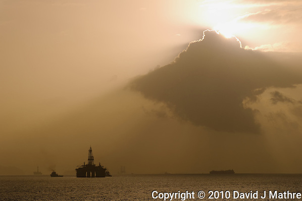 Morning View of Off-shore Oil Rigs. Port of Spain, Trinidad. Image taken with a Nikon D3s and 70-300 mm VR lens (ISO 200, 135 mm, f/16, 1/1000 sec). Raw Image processed with DxO, Capture One 6 Pro, Nik Define, and Photoshop CS5. (David J. Mathre)