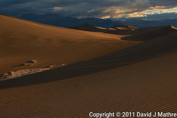 Sand Dune Morning Shadows, Death Valley NP. Image taken with a Nikon D3x and 50 mm f/1.4 G lens (ISO 100, f/8, 1/500 sec). Image processed with Capture One Pro, Focus Magic, and converted for web with Photoshop CS5. (David J Mathre)