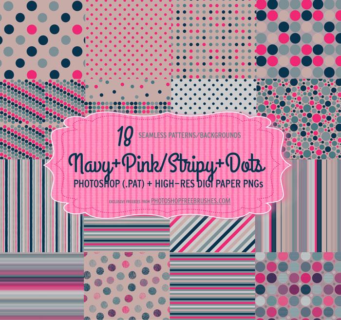 Navy Pink Polka Dots Patterns PHOTOSHOP FREE BRUSHES
