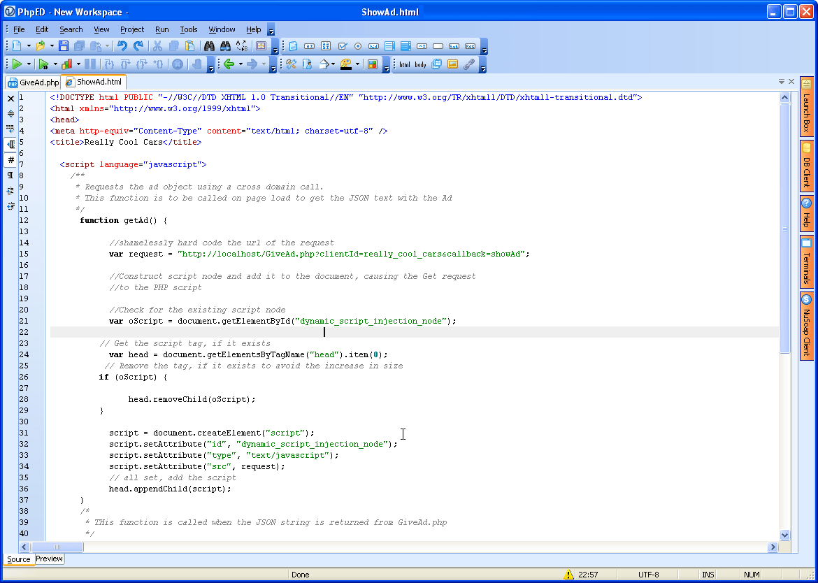Php editor javascript click to enlarge