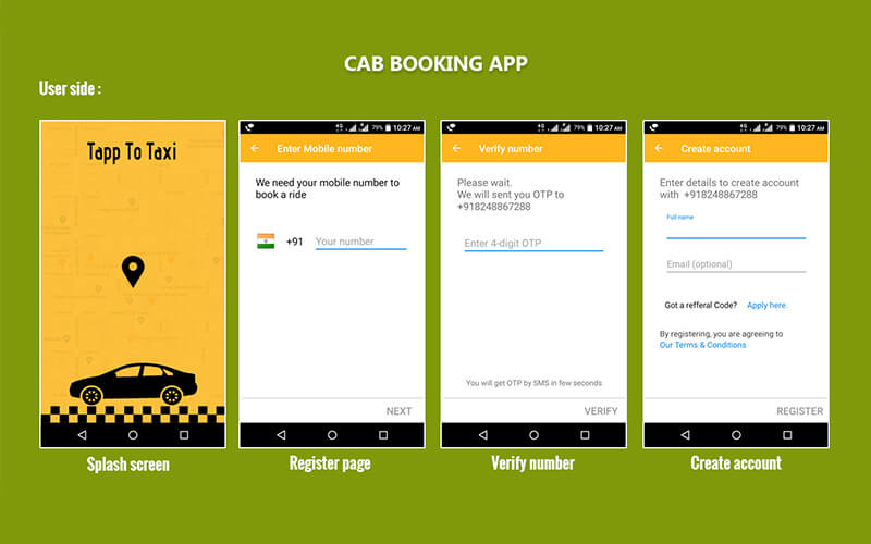 Android App Cab Booking, Android Taxi Booking App - booking app