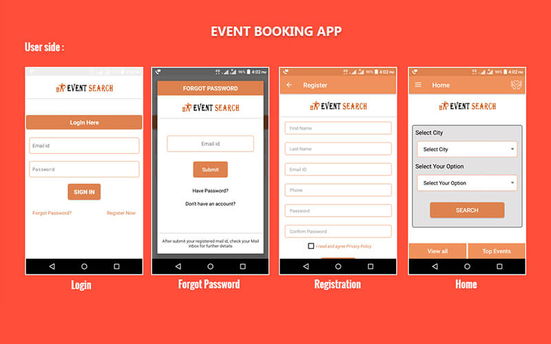 Event Booking Android Application, Online Event Booking App - booking app