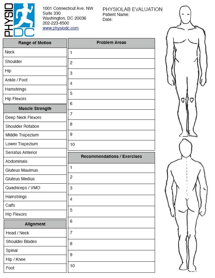 PhysioLab \u2013 Full Body Physical Therapist Evaluation \u2013 Washington, DC - physical therapy evaluation