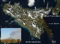 The 24 November 2006 eruption captured by the Moderate Resolution Imaging Spectroradiometer flying on board NASA's Aqua satellite (modified from http://eoimages.gsfc.nasa.gov/). In the inset is the volcanic plume as observed from the center of Catania at around 11:00 GMT (photo by Boris Behncke, INGV-Sezione di Catania).