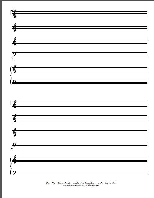 Free PDF Blank piano staff and choral staff downloadable