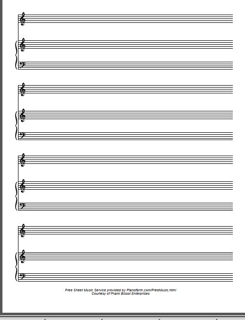 Free Manuscript Blank Piano Vocal Staff PDF Download