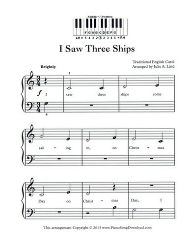 I Saw Three Ships - Free Easy Christmas Piano Music with letters and