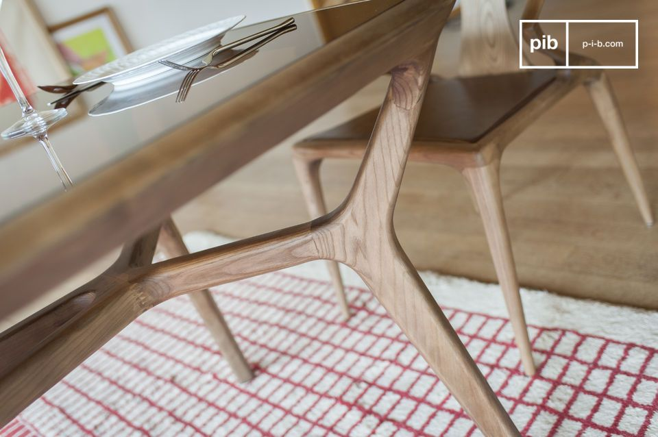 Dagsmark Wood And Glass Dining Table Vintage Style Pib