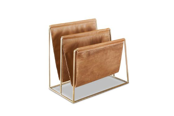 Leather And Brass Magazine Rack Jorgen Brown And Gold
