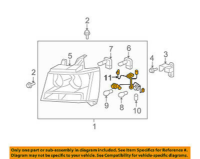 CHEVY TAHOE SUBURBAN Avalanche Headlight Wiring Harness 2007-2014