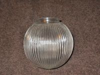 6 INCH RIBBED CLEAR GLASS GLOBE LAMP SHADE 3 1/8 in FITTER ...