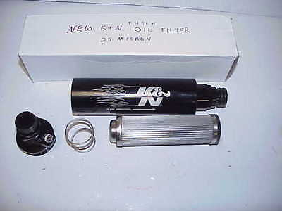 NEW K  N Billet Aluminum Fuel or Oil Filter with 25 Micron SS