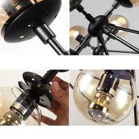LARGE CHANDELIER LIGHTING Glass Pendant Light Black ...