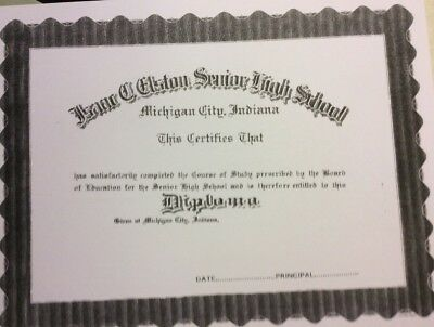 BLANK HIGH SCHOOL Diploma Comes Blank Fill In Own Info Plus Free