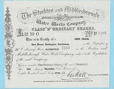 STOCKTON AND MIDDLESBROUGH Water Works Company, share certificate - Company Share Certificates