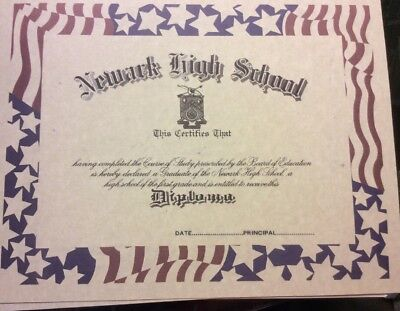 HIGH SCHOOL DIPLOMA Comes Blank Fill In Own Info Plus Free Blank - blank high school diploma