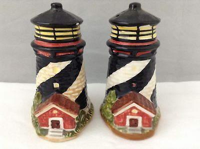Ceramic Lighthouse Black White Striped Tealight Candle