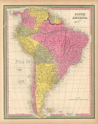 SOUTH AMERICA, CONTINENT - Antique c1900 Mounted Colour Map - £999