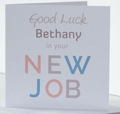 PERSONALISED GOOD LUCK in your New Job Card Leaving Card Stylish - new job cards