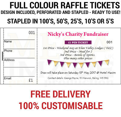 PRINTED PERSONALISED RAFFLE Prize Draw Tickets - £1550 PicClick UK