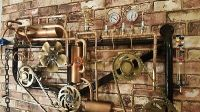 LARGE STEAMPUNK WALL Art Light Thermometer Clock Moving ...