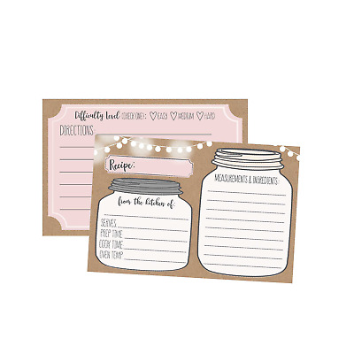 50 DOUBLE SIDED Recipe Cards 4x6, Wedding Bridal Shower Card, Kraft - double recipe cards