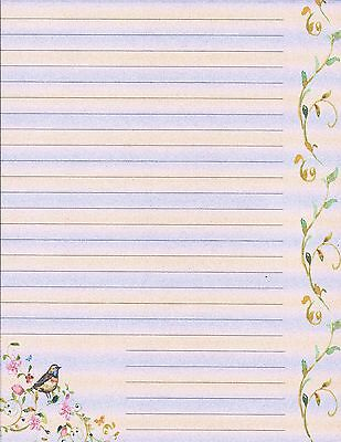 BIRD  FLOWERS Lined Stationery Writing Paper Set, 25 sheets  10