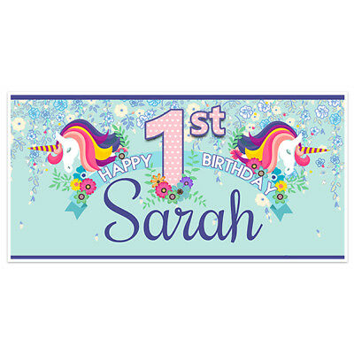 UNICORN BLUE FIRST Birthday Banner Party Decoration Backdrop