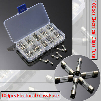 100PCS 5*20MM ELECTRICAL Fuse Amp Fast-blow Circuits Glass Fuse Box