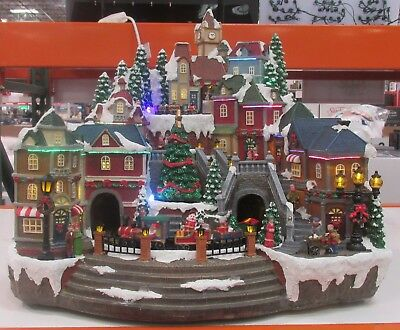 ANIMATED CHRISTMAS HOLIDAY Winter Town Set Snow Village Scenes Light