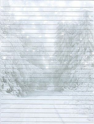 WINTER FOREST SCENE Lined Stationery Writing Paper Set, 25 sheets