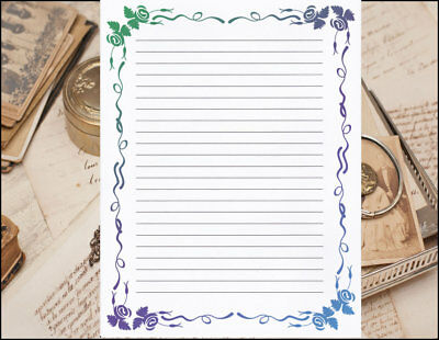 WHIMSICAL DESIGN LINED Stationery Writing Paper Set, 25 sheets  10