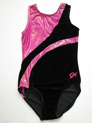 GK ELITE GIRLS Sz CM Childs Medium Black Pink Orange Gymnastics