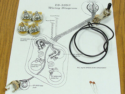 WIRING KIT FOR GIBSON® LES PAUL COMPLETE w/ Diagram CTS Pots