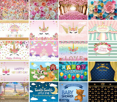 BIRTHDAY PARTY DECOR Banner Photography Backgrounds Flower Unicorn
