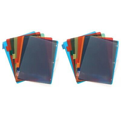 10 TAB COLORED Dividers 3 Ring Binder Plastic Film File Folder