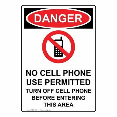 COMPLIANCESIGNS VERTICAL PLASTIC No Cell Phone Use In This Classroom - Turn Off Cell Phone Sign