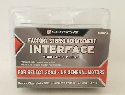 SCOSCHE FACTORY STEREO Replacement Interface 2004-Up GM GM3000 w