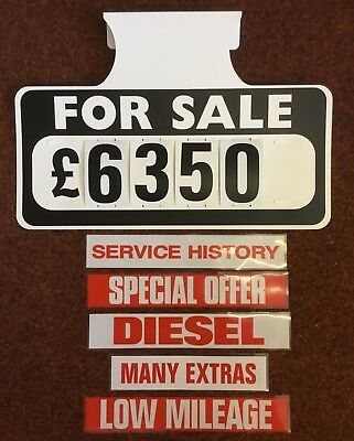 5 X FOR Sale Visor Price Sets, Car For Sale Signs, Boards, Plus 5 - free for sale signs for cars