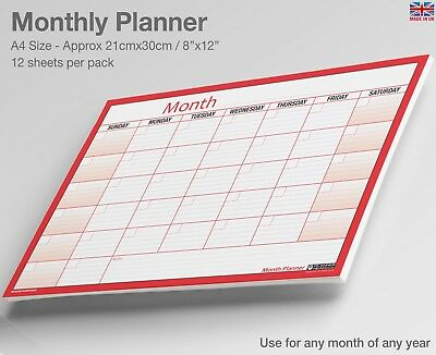 MONTH PLANNER WALL / Desk Monthly Planner, For Any Month/Year