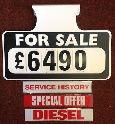 3 X FOR Sale Visor Price Sets, Car For Sale Signs, Boards, Plus 3 - free for sale signs for cars