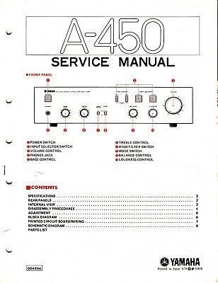 ORIGINAL YAMAHA A-450 Integrated Amp Service Manual w Schematic