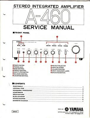 ORIGINAL YAMAHA A-460 Integrated Amp Service Manual w Schematic