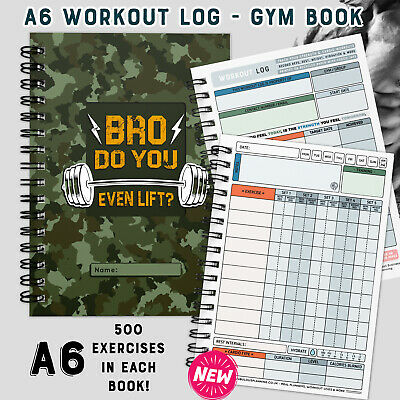 WORKOUT LOG BOOK, A6 gym diary, exercise, cardio/weight training