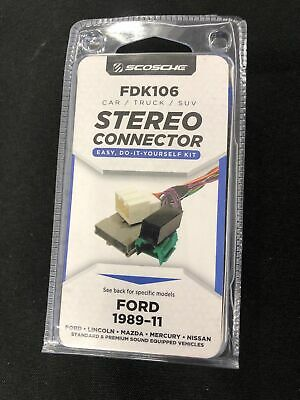 SCOSCHE FDK106 STEREO Connector Ford 1989-11 2011 Wiring Kit Lincoln